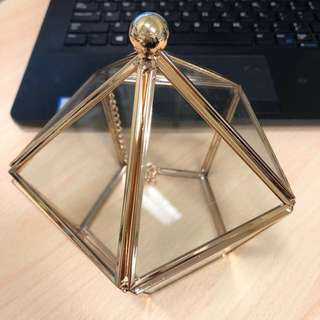 Gold Geometric Glass Box
