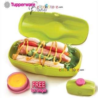 TUPPERWARE Snack Buddy 400ml [GREEN] FREE smiget Lunch Box