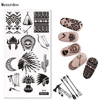 Indian style Nail Disk Nail Art image Plate Stamping Template Leather Love Bow and Arrow Design DIY Manicure Tools Mezerdoo B12