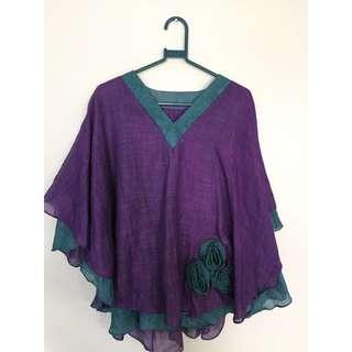 SALE 50% - Purple Green Batwing Top