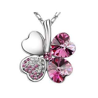 (Free earring) swarovski elements crystal clover necklace