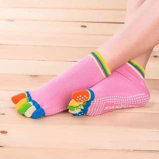 Five-toed yoga socks anti-slip particles