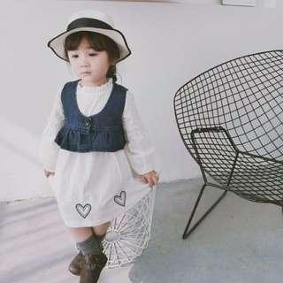 【春➤女孩】公主范連衣裙+牛仔小馬甲兩件套裝