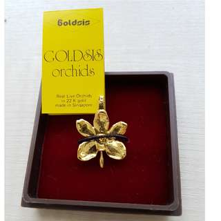 22K Gold Plated Orchid Brooch/Pendant