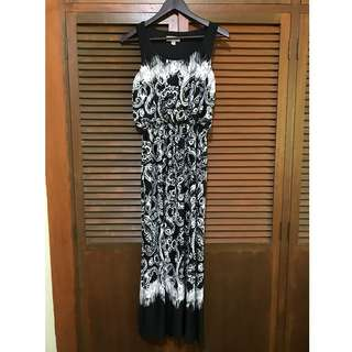 Black and White Printed Long Jersey Dress (Shelby & Palmer)
