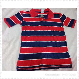 Faded Glory Red Stripes Polo Shirt (size 6-7)