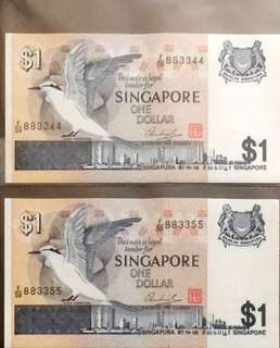 🤗 Rare 8833xx 2nd Generation 🦅 Series $1 Notes with Auspicious 雙雙對對 Serial Numbers F/59 883344 & F/59 883355 in Crispy Uncirculated Condition