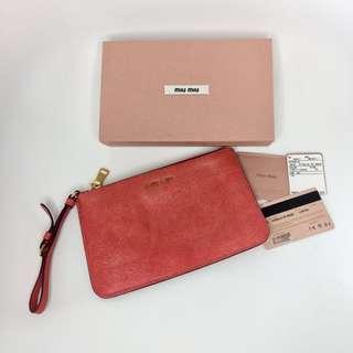 真品 Miu Miu leather clutch 真皮橙紅色帶閃手帶袋