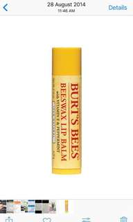 Authentic Brand New Sealed Burt's Bees Lip Balm (Original flavour) free normal mailing+photoproof!