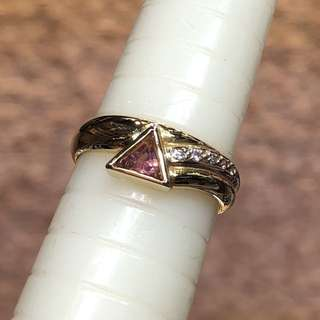 18kt pink tourmaline diamond ring 電氣石鑽石戒指