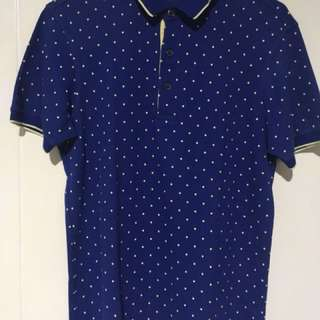 Blue printed Short sleeves polo shirt from Uniqlo