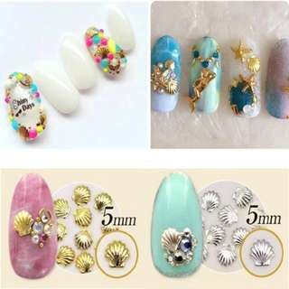 10pcs 3D Gold Silver Metal Nail Art Decoration Accessories Nail Supplies Wheel Manicure Beauty Tools Shell Conch Starfish Design