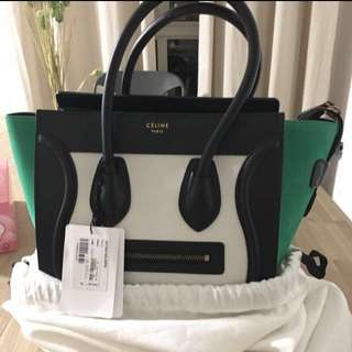 Celine Micro Luggage in Multicolor Baby grained calfskin