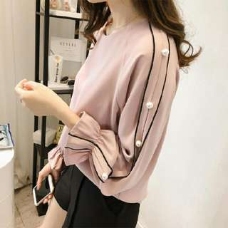 [INSTOCK] Pearl Detailed Chiffon Blouse