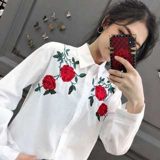 Floral Embroidery cotton shirt TOP free size