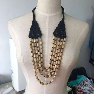 Brand new boho crotchet and resin handcrafted long necklace