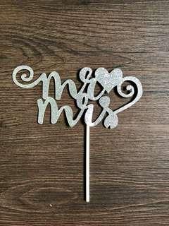 Mr&Mrs Cake Topper - Silver Glitter