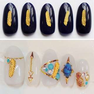 5 Pieces New Gold Metal Feather Nail Art Decoration DIY Beauty Jewelry 3D Design Alloy Nail Accessories