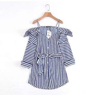 🔥Europe striped strap shoulder ring belt dress shirt
