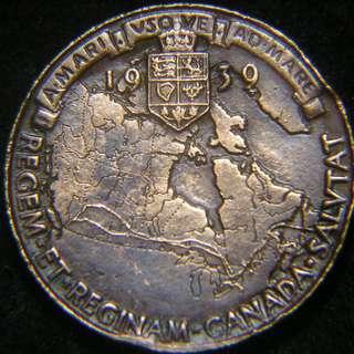 1939年英屬加拿大(Canada)英皇佐治六世伉儷到訪(Royal Visit)加拿大版圖銅紀念章(