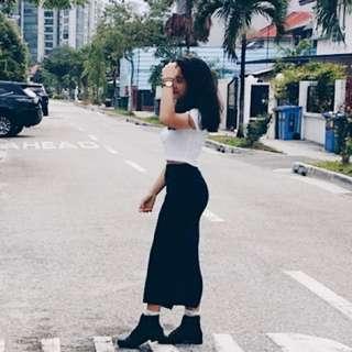 Navy Slit Bodycon Maxi Skirt