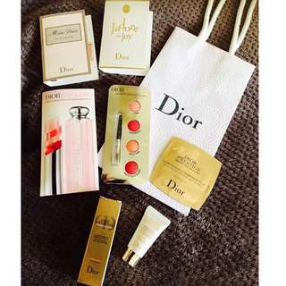 Christian Dior Samples Set with FREE Paper bag Lipstick, Cream, Serum, 2 perfume miniatures