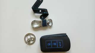 Mitsubishi attrage remote key black with blue icon pvc leather material-like