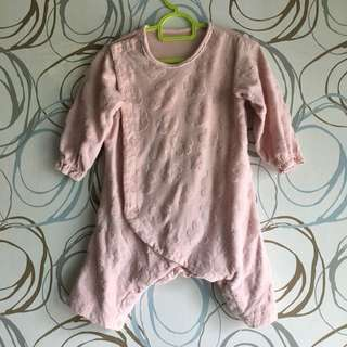 Pink Flower Overall