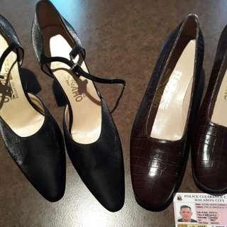 Salvatore Ferragamo Crocodile Skin Pumps & Black Satin Heels