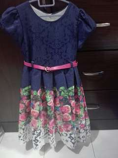 Flowery Flare Dresses With Pink Belt