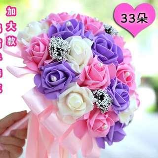 粉紅色 紫色 花球 結婚 新娘 婚宴 晚宴 玫瑰花