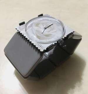 [全新] 德國品牌 S.T.A.M.P.S. 郵票錶 白玫瑰款 包一條頸鏈+ 一條PP錶帶 + 意大利冰石腕帶 (連包裝)