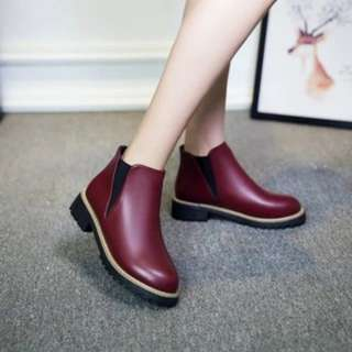 [PO190]Autumn Winter Women PU Leather Low Boots Casual Female Flat Heels Ankle Boots
