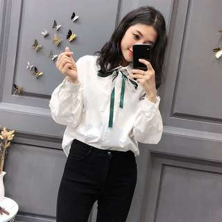 Long puff sleeve lace bow tie shirt top