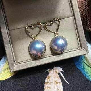 【日本成品·馬貝耳釘】️🆕裸️珠約12-13mm,18k厚金立體愛心❤鑲嵌 整體尺寸12.6*25.5mm 設計很贊!