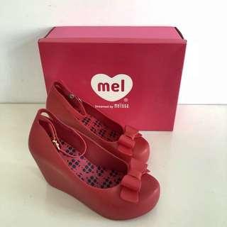 🚚 Melissa 巴西尺寸33/34,35,36(Mel 可愛踝繫帶厚底楔型娃娃鞋-鮮紅色)
