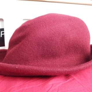 酒紅色紳士帽禮帽 hat