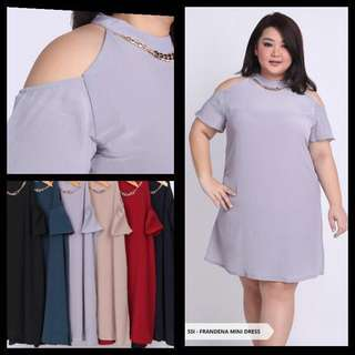 Cut Off Shoulder A Line Dress Big Size Bigsize Jumbo