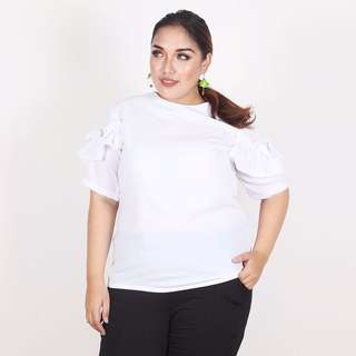 Ruffles Blouse Big Size Bigsize Jumbo White