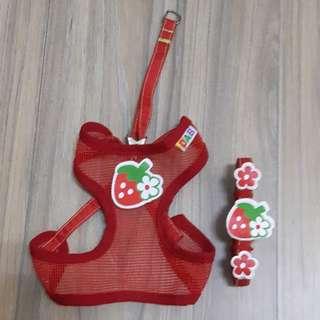 寵物草莓透氣胸背組