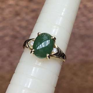 14kt A jade diamond ring A玉鑽石戒指