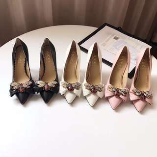 Gucci Leather Mid Heel with Bow