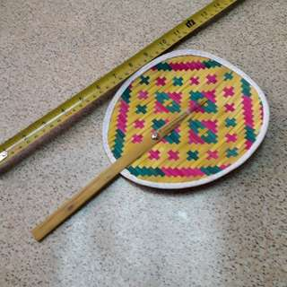 Handmade fan (pink and green)