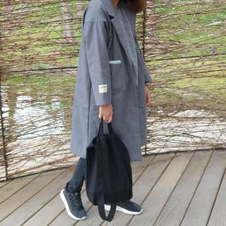 加厚韓版單扣寬鬆西裝領毛呢大衣外套-灰