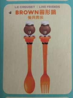 7-11 BROWN 圓形鍋 餐具套裝 line friends x le creuset