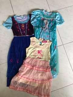 Authentic Disney frozen and Barbie dresses