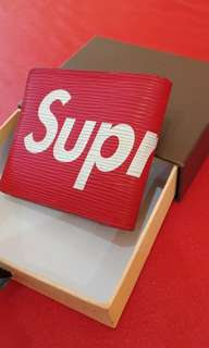 Supreme lv wallet red dompet merah