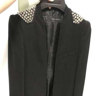 ZARA basic - studied shoulder black blazer
