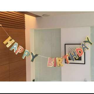 Happy birthday gold lining bunting
