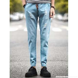 elastic ripped jeans!